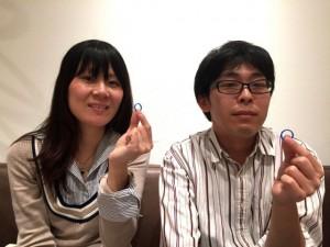 鶴を手彫りした手作り結婚指輪