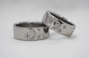月と星の手作り結婚指輪