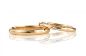 K18 甲丸デザインの手作り結婚指輪