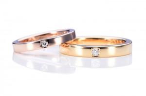 平打ちのピンクゴールド・イエローゴールドの手作り結婚指輪