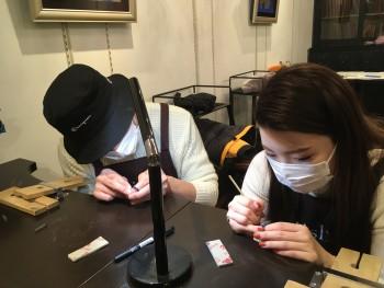 手作り指輪 彫り